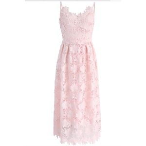Ebullience of Flowers Crochet Cami Dress in Pink